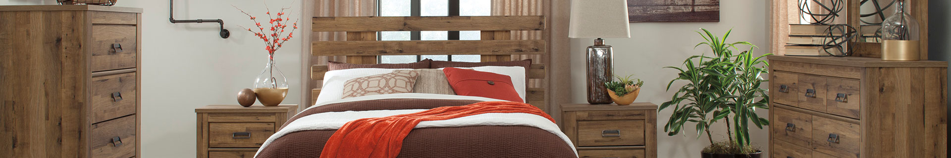 Contemporary, wooden bed set.