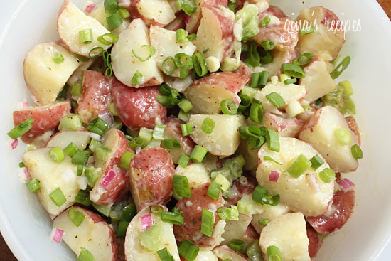 Salad with New Potatoes & Pickled Spring Onions